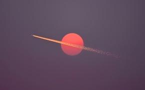 Wallpaper sky, flight, sun, airplane, dusk