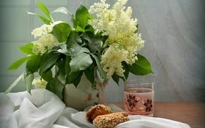 Picture bouquet, still life, cakes, compote, elder