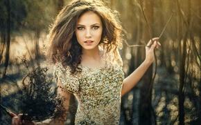 Picture forest, grass, look, flowers, nature, pose, sweetheart, hair, Girl, figure, dress, brunette, girl, grass, beautiful, ...