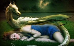 Picture girl, stars, decoration, face, fiction, the moon, dragon, sleep, dress, art, sleeping, horns, travneva