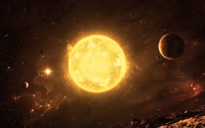 Picture space, star, planet, asteroids relief
