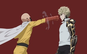 Picture red, game, minimalism, anime, power, man, punch, blonde, hero, asian, martial artist, manga, cyborg, japanese, …