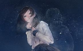 Picture the sky, girl, stars, night, anime, art, mizutamari tori