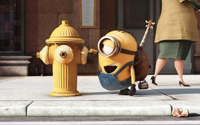 Wallpaper cinema, guitar, yellow, street, movie, eye, glasses, film, bones, Minions, Despicable Me, gloves, stairs, Minion, ...