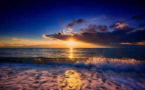 Picture sea, the sky, the sun, landscape, sunset, clouds, wave, surf