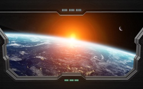 Wallpaper light, window spaceship, Sci FI, star, planet