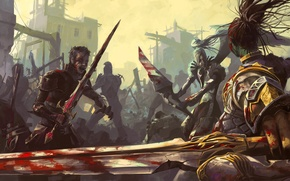 Picture weapons, Lineage 2, art, ruins, the city, battle, blood, sword, war