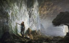 Picture girl, stones, tree, surrealism, waterfall, art, Michal Matczak