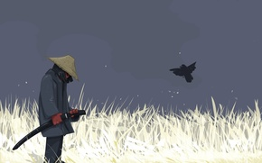Wallpaper Sword, vector, bird, warrior