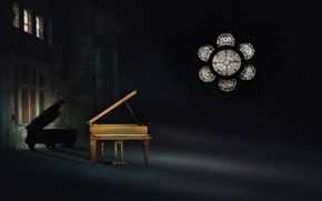 Picture light, music, shadow, piano