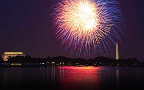 Picture river, salute, Washington, fireworks, USA, DC, Potomac