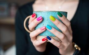Picture girl, macro, photo, hands, mug