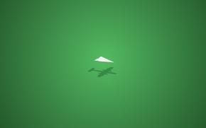 Wallpaper green, shadow, minimalism, paper plane