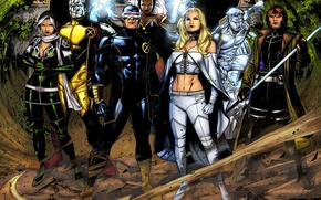 Picture X-Men, Storm, Rogue, Emma Frost, Cyclops, Colossus, Iceman, Gambit