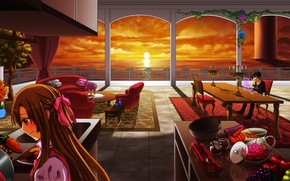Picture sea, girl, sunset, room, tables, kitchen, guy, fruit, sword art online, yuuki asuna, kirito