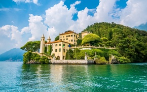 Picture lake, the building, island, Italy, Italy, lake Como, Lombardy, Lombardy, Lake Como, Lenno, Lenno