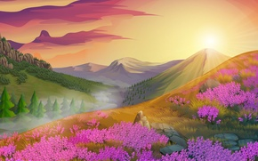 Picture the sun, trees, landscape, flowers, mountains