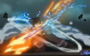 Picture earth, lightning, magic, art, Avatar: the Legend of Korr., the air, water, Times, The Legend ...