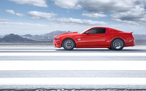 Picture red, Mustang, Ford, Shelby, GT500, Mustang, profile, red, muscle car, Ford, Shelby, muscle car, profile, ...