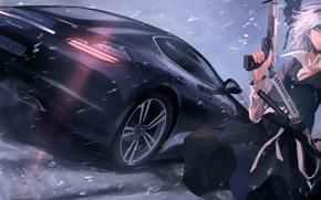 Picture machine, girl, snow, gun, weapons, sword, katana, art, touhou, Konpaku Youmu, terabyte, rook777