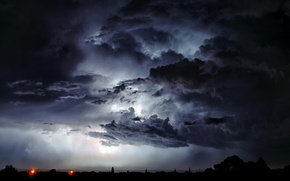 Picture city, lightning, cloud