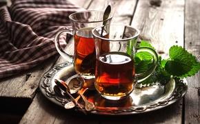 Picture tea, glasses, drink, mint