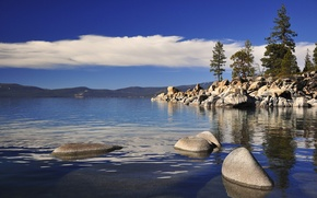 Picture the sky, clouds, trees, mountains, lake, stones, horizon, Tahoe