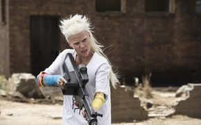 Wallpaper Action, Sci-Fi, Face, Exclusive, Beautiful, Blonde, Guns, Pictures, White, Eyes, Visser Was Yolan, CHAPPiE, Hair, ...