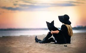 Picture girl, shore, dog, I found myself in wonderland