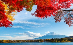 Picture autumn, the sky, leaves, clouds, snow, trees, lake, Japan, mountain, Fuji