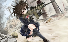 Picture girl, weapons, dust, art, machine, form, ruins, omaru09