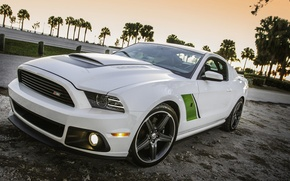 Picture white, Ford, mustang, white, drives, muscle car, roush, green stripes, rs3, oil CT
