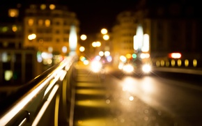 Picture road, light, machine, night, lights, lights, home, The city, blur, bokeh