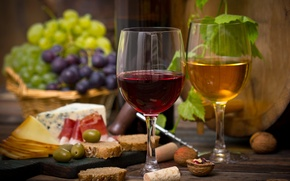 Picture wine, red, white, basket, cheese, glasses, grapes, nuts