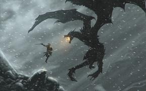Picture dragon, dragonborn, the elder scrolls, skyrim, Skyrim, dragon, dragonborn, draconology