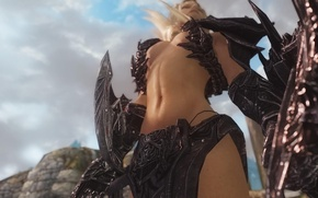 Picture girl, weapons, the game, body, view, blonde, The Elder Scrolls V: Skyrim