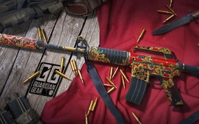 Picture rendering, table, knife, cartridges, shop, holster, red cloth, workshop, cs go, gunsmith, m4a1-s, moterland