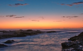 Picture water, stones, shore, Sunset, 158