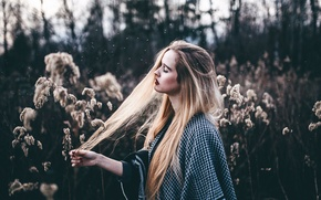 Picture grass, girl, hair, makeup, Christina, moments