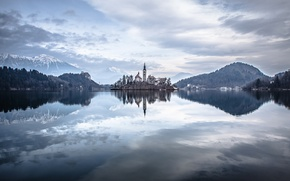 Picture mountains, home, tower, tower, mountains, houses, Slovenia, Lake Bled, Slovenia, Lake Bled