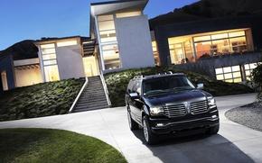 Picture Auto, Black, House, Machine, Jeep, Car, SUV, The front, Lincoln Navigator