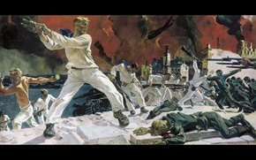 Wallpaper picture, battle, heroism, A. Deineka, melee, courage, Defense Of Sevastopol