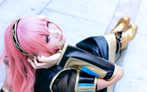 Picture girl, headphones, costume, Vocaloid, cosplay, pink hair, Megurine Luka