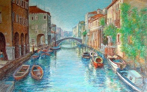 Picture Venice, boats, channel, Venice, Italy, pastel