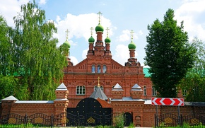 Picture summer, trees, gate, Church, temple, Russia, Trinity, Temples, Lavra, Sergiyev Posad, Sergiev Posad