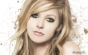 Picture girl, face, art, blots, singer, Avril Lavigne, Adrien Gaudin