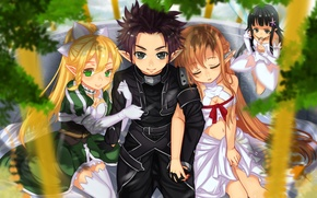 Wallpaper smile, girls, mood, guy, art, sword art online, yuuki asuna, kirito, yui, master of the ...