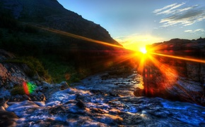 Picture the sun, morning, Blik, California, morning, Glacier National Park