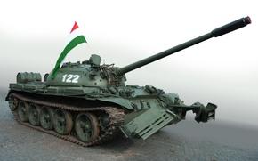 Wallpaper green, flag, tank, t-54