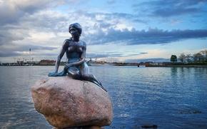 Picture Denmark, port, statue, The little mermaid, Denmark, Copenhagen, Copenhagen